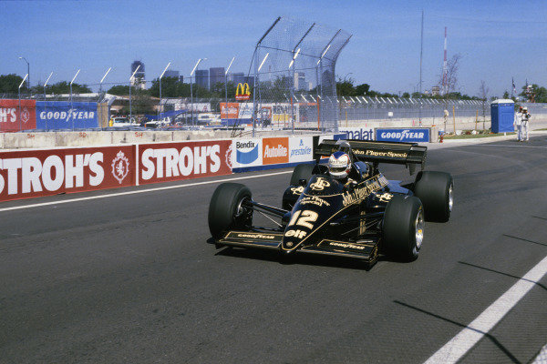 Detroit, Michigan, USA. 22nd - 24th June 1984.Nigel Mansell (Lotus 95T Renault), retired, action. World Copyright: LAT Photographic.