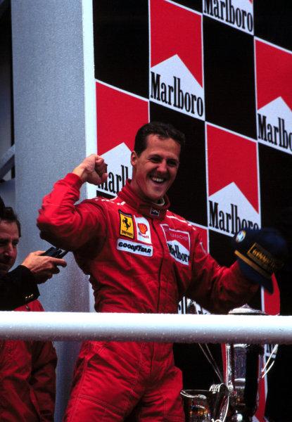 1997 Belgian Grand Prix.Spa-Francorchamps, Belgium.22-24 August 1997.Michael Schumacher (Ferrari) 1st position.World Copyright - LAT Photographic