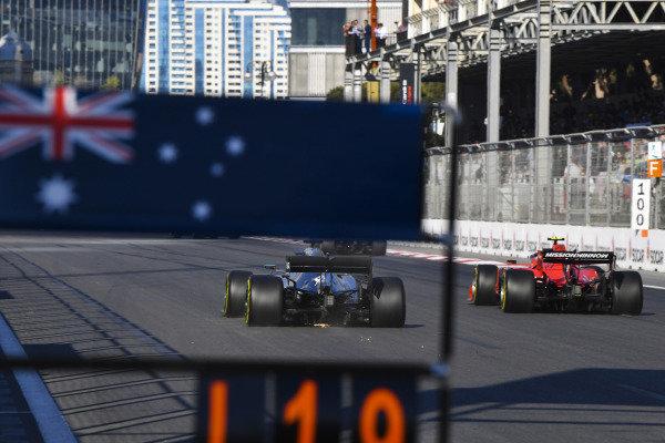 Valtteri Bottas, Mercedes AMG W10, passes Charles Leclerc, Ferrari SF90