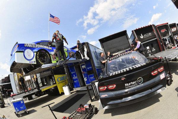 #51: Garrett Smithley, Petty Ware Racing, Chevrolet Camaro 9/11 Scheme and #15: Joey Gase, Rick Ware Racing, Chevrolet Camaro Donate Life VA