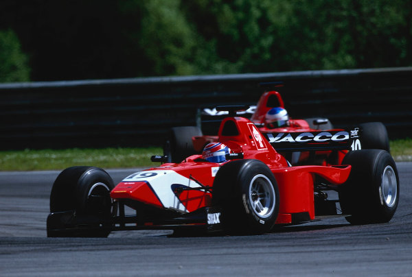 2002 F3000 ChampionshipA1-Ring, Austria. 11th May 2002.Race winner Tomas Enge leads Arden team mate, Bjorn Wirdheim, 2nd.World Copyright: Charles Coates/LAT Photographicref: 35mm Image A13
