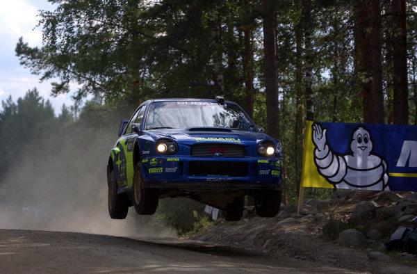 2002 World Rally Championship.Neste Rally Finland, Jyvaskyla Finland, August 8-11th.Petter Solberg on the Ruuhimaki stage.Photo: Ralph Hardwick/LAT