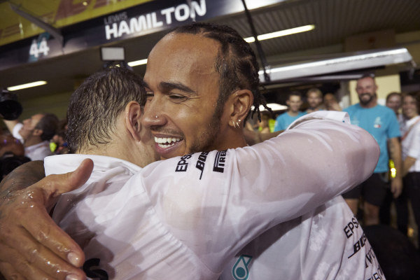 Peter Bonnington, Race Engineer, Mercedes AMG, and Lewis Hamilton, Mercedes AMG F1, 1st position, celebrate