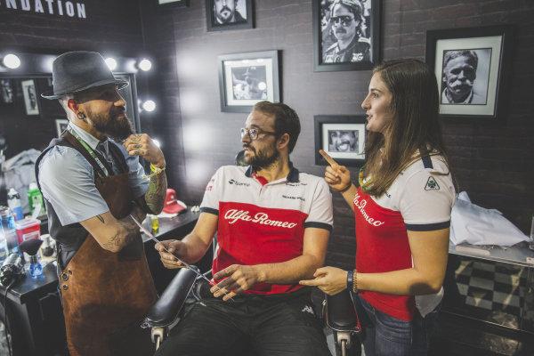 Tatiana Calderon, Alfa Romeo Sauber F1 Team Test Driver and Alfa Romeo Sauber F1 Team at the Movember Barber shop