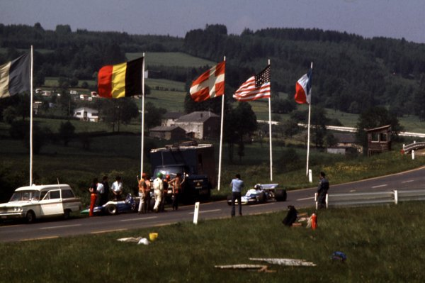 1970 Belgian Grand Prix.Spa-Francorchamps, Belgium.5-7 June 1970.Henri Pescarolo leads Jean-Pierre Beltoise (both Matra-Simca MS120). They finished in 6th and 3rd positions respectively.Ref-70 BEL 70.World Copyright - LAT Photographic