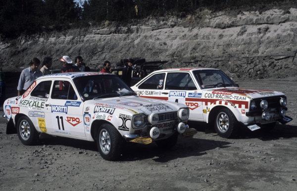 Ari Vatanen / Geraint Phillips, Ford Escort RS 1600 MKI and Timo Mäkinen / Henry Liddon, Ford Escort RS 1800 MKII.