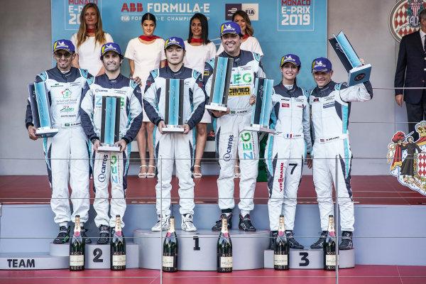 PRO podium winners (Cacá Bueno (BRA), Jaguar Brazil Racing celebrates on the podium with Sérgio Jimenez (BRA), Jaguar Brazil Racing, 2nd position and Bryan Sellers (USA), Rahal Letterman Lanigan Racing, 3rd position) stand with the PRO AM podium winners (Yaqi Zhang (CHI), Team China, Bandar Alesayi (SAU), Saudi Racing, 2nd position, and Célia Martin (FRA), Viessman Jaguar eTROPHY Team Germany, 3rd position)
