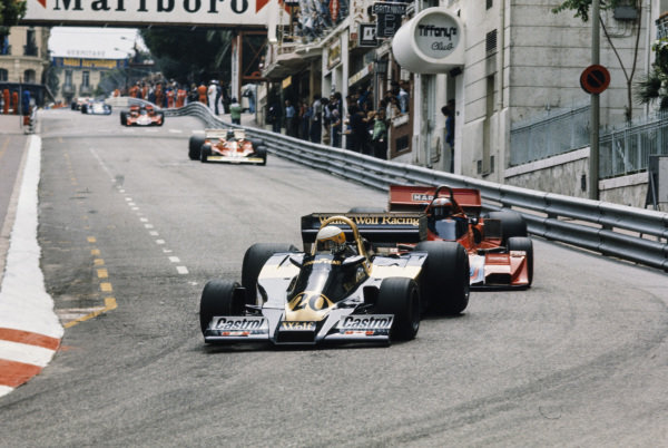 Jody Scheckter, Wolf WR1 Ford leads John Watson, Brabham BT46 Alfa Romeo and Gilles Villeneuve, Ferrari 312T3.