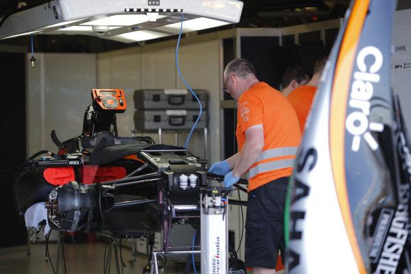 Force India VJM09 in the garage at Formula One World Championship, Rd1, Australian Grand Prix, Preparations, Albert Park, Melbourne, Australia, Wednesday 16 March 2016.