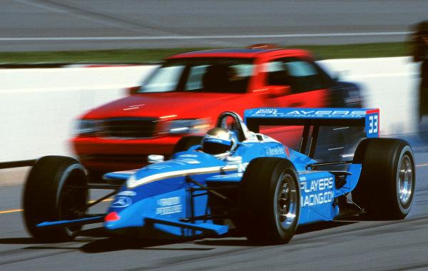 1999 CART US 500, Michigan Speedway, 25/7/99Patrick Carpentier passes Chief Steward Wally Dallenbach's Mercedes on his qualifying run.-1999, Michael L. Levitt, USALAT PHOTOGRAPHIC