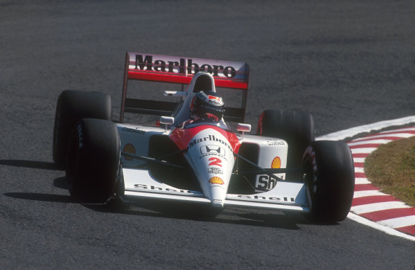 1991 Japanese Grand Prix.Suzuka, Japan.18-20 October 1991.Gerhard Berger (McLaren MP4/6 Honda) 1st position. He was handed victory in the final corner of the race by teammate Senna.Ref-91 JAP 08.World Copyright - LAT Photographic