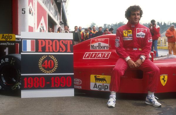 1990 San Marino Grand Prix.Imola, Italy.11-13 May 1990.Alain Prost (Ferrari) comemorates his 40 Grand Prix wins. He took win number 40 at the last race in Brazil.Ref-90 SM 02.World Copyright - LAT Photographic