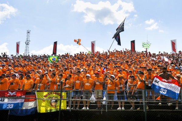 Fans of Max Verstappen, Red Bull Racing, fill the grandstands