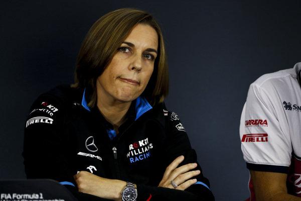 Claire Williams, Deputy Team Principal, Williams Racing, in the team principals' Press Conference