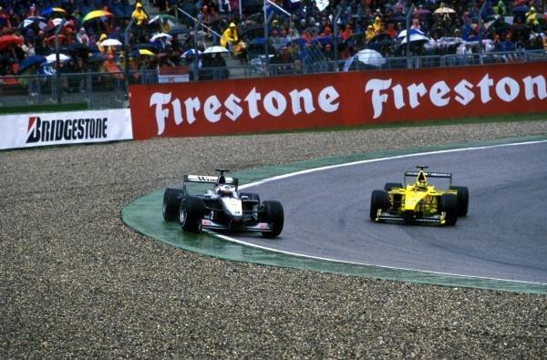 David Coulthard (GBR) Mclaren MP4-15 runs wide. German Grand Prix, Hockenheim, Germany, 30 July 2000