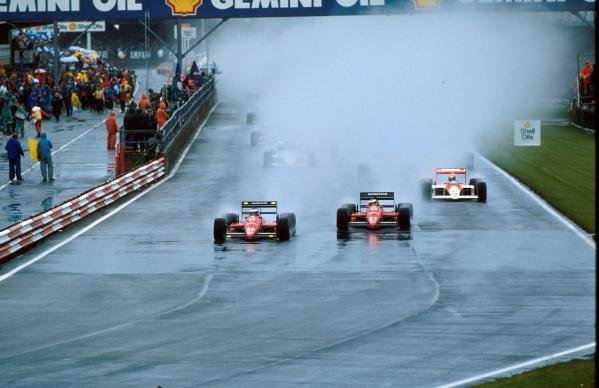 Ferrari team mates Berger and Alboretto fight for position at the start of the race British Grand Prix, Silverstone, 10 July 1988