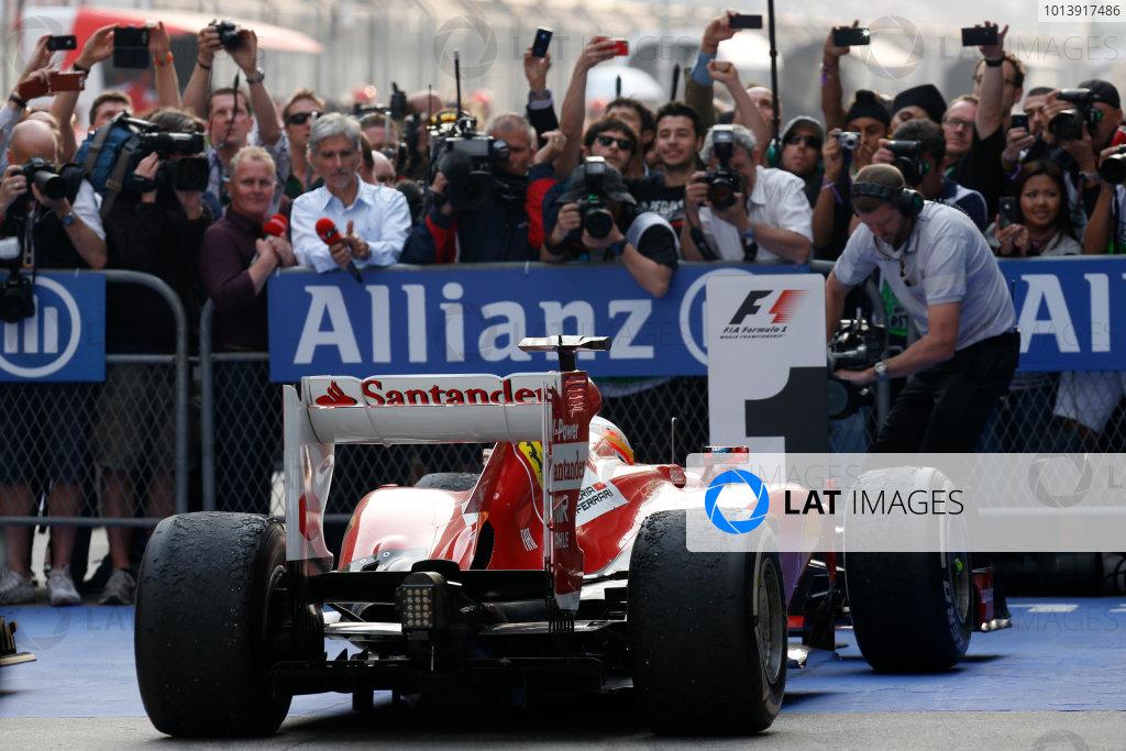 Shanghai International Circuit, Shanghai, China Sunday 14th April 2013 Fernando Alonso, Ferrari F138, 1st position, arrives in Parc Ferme. World Copyright: Alastair Staley/LAT Photographic ref: Digital Image _R6T2332