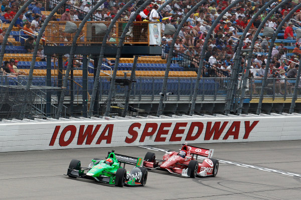 22-23 June, 2013, Newton, Iowa, USA James Hinchcliffe leads Scott Dixon.(c) 2013, Perry Nelson LAT Photo USA