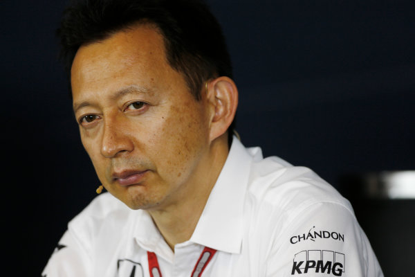 Red Bull Ring, Spielberg, Austria. Friday 01 July 2016. Yusuke Hasegawa, Senior Managing Officer, Honda, in the team principals Press Conference. World Copyright: Andy Hone/LAT Photographic ref: Digital Image _ONZ5150