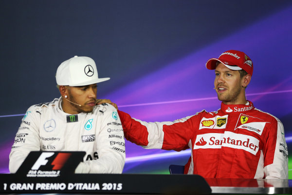 Autodromo Nazionale di Monza, Monza, Italy. Saturday 05 September 2015. Lewis Hamilton, Mercedes AMG, and Sebastian Vettel, Ferrari, in the post qualifying Press Conference. World Copyright: Jed Leicester/LAT Photographic. ref: Digital Image JL2_8730