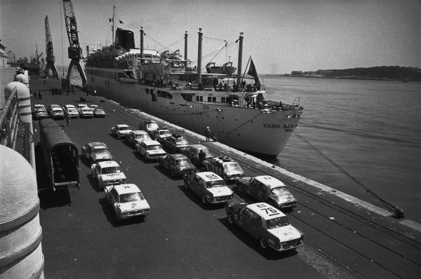 London to Mexico. 19th April - 27th May 1970.Cars on the docks, atmosphere.World Copyright: LAT Photographic.Ref:  B/W Print.
