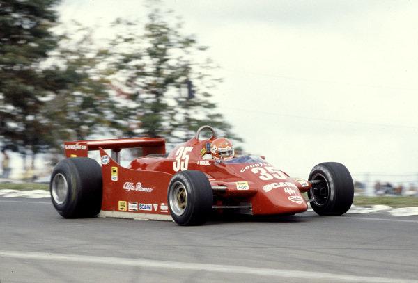 1979 United States Grand Prix East. Watkins Glen, NY, USA. 5-7 October 1979. Bruno Giacomelli (Alfa Romeo 179). Ref-79 USA 15. World Copyright - LAT Photographic