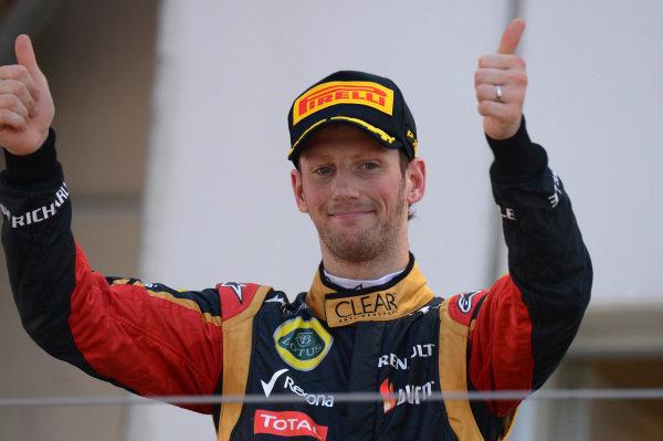 Romain Grosjean (FRA) Lotus F1 on the podium finished third. Formula One World Championship, Rd9, German Grand Prix, Race Day, Nurburgring, Germany, Sunday 7 July 2013.  BEST IMAGE