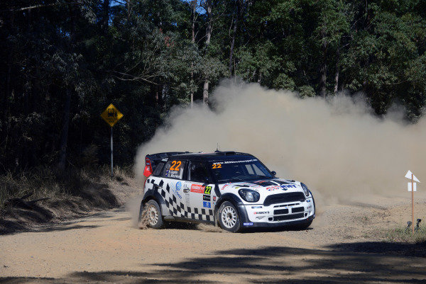 Nathan Quinn (AUS) and Glenn Macneal (AUS), Mini JCW WRC on stage 13.