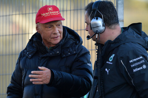 Niki Lauda (AUT) Mercedes AMG F1 Non-Executive Chairman and Ron Meadows (GBR) Mercedes AMG F1 Team Manager. Formula One Testing, Jerez, Spain, Day Three, Thursday 30 January 2014.