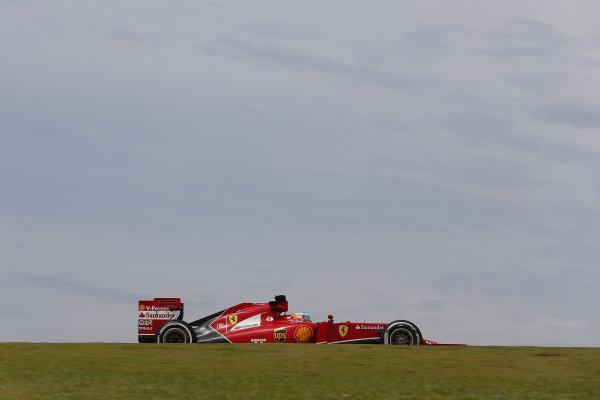 Fernando Alonso (ESP) Ferrari F14 T. Formula One World Championship, Rd18, Brazilian Grand Prix, Practice, Sao Paulo, Brazil, Friday 7 November 2014. BEST IMAGE