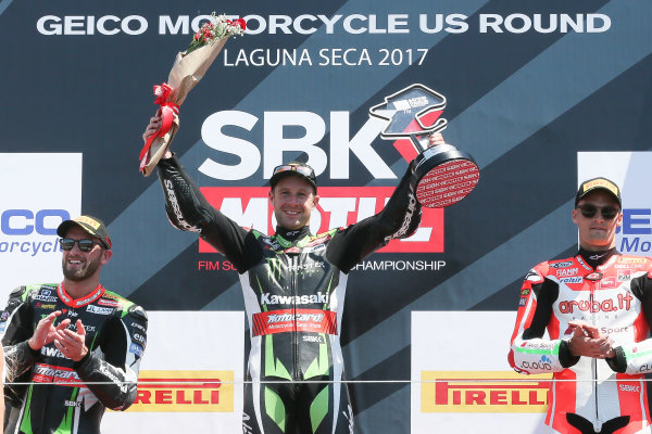 2017 Superbike World Championship - Round 8 Laguna Seca, USA. Sunday 9 July 2017 Podium: winner Jonathan Rea, Kawasaki Racing, second place Tom Sykes, Kawasaki Racing, third place Chaz Davies, Ducati Team World Copyright: Gold and Goose/LAT Images ref: Digital Image 683461