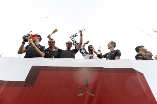 Circuit Gilles Villeneuve, Montreal, Canada. Sunday 11 June 2017. The McLaren raft team celebrate victory. World Copyright: Glenn Dunbar/LAT Images ref: Digital Image _X4I7539