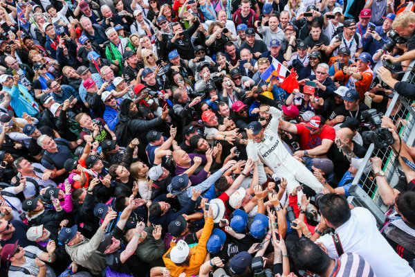 Silverstone, Northamptonshire, UK.  Sunday 16 July 2017. Lewis Hamilton, Mercedes AMG, 1st Position, celebrates with an enormous home crowd. World Copyright: Coates/LAT Images  ref: Digital Image AN7T4137