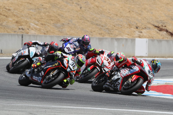 2017 Superbike World Championship - Round 8 Laguna Seca, USA. Saturday 8 July 2017 Leon Camier, MV Agusta, Lorenzo Savadori, Milwaukee Aprilia World Copyright: Gold and Goose/LAT Images ref: Digital Image 683237