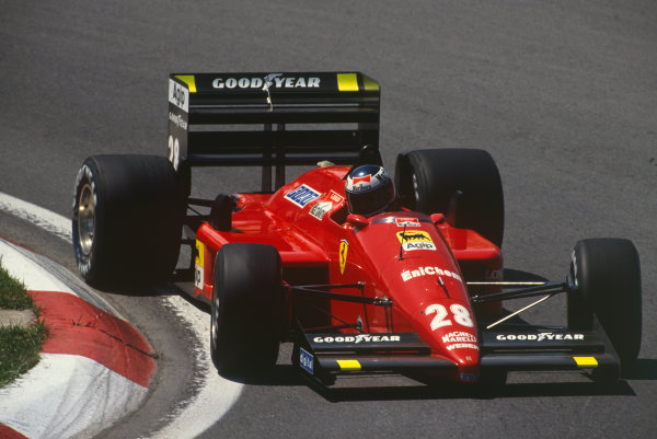 Montreal, Canada. 10th - 12th June 1988. Gerhard Berger (Ferrari F187/88C), retired, action.  World Copyright: LAT Photographic. Ref: 88_CAN_10
