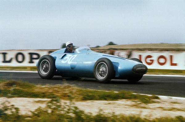 Reims, France. 29/6-1/7 1956. Robert Manzon (Gordini T32) 9th position. Ref: 56FRA06. World Copyright - LAT Photographic