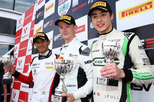 2017 British F3 Championship, Brands Hatch, 5th-6th August 2017, Podium Kris Mahadik (IND) Double R Racing BRDC F3, Toby Sowery (GBR) Lanan Racing BRDC F3 and James Pull (GBR) Carlin BRDC F3 World Copyright. JEP/LAT Images