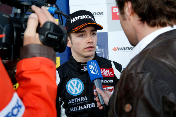 FIA F3 European Championship - Round 1, Race 3. Silverstone, Northamptonshire, UK 10th - 12th April 2015 TV-Interview, 7 Charles Leclerc (MCO, Van Amersfoort Racing, Dallara F312 – Volkswagen). Copyright Free FOR EDITORIAL USE ONLY. Mandatory Credit: FIA F3. ref: Digital Image FIAF3-1428834988