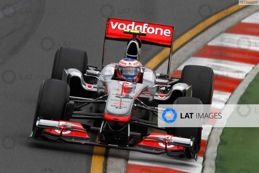 Albert Park, Melbourne, Australia 25th March 2011. Jenson Button, McLaren MP4-26 Mercedes. Action.  World Copyright: Andrew Ferraro/LAT Photographic ref: Digital Image _Q0C8112