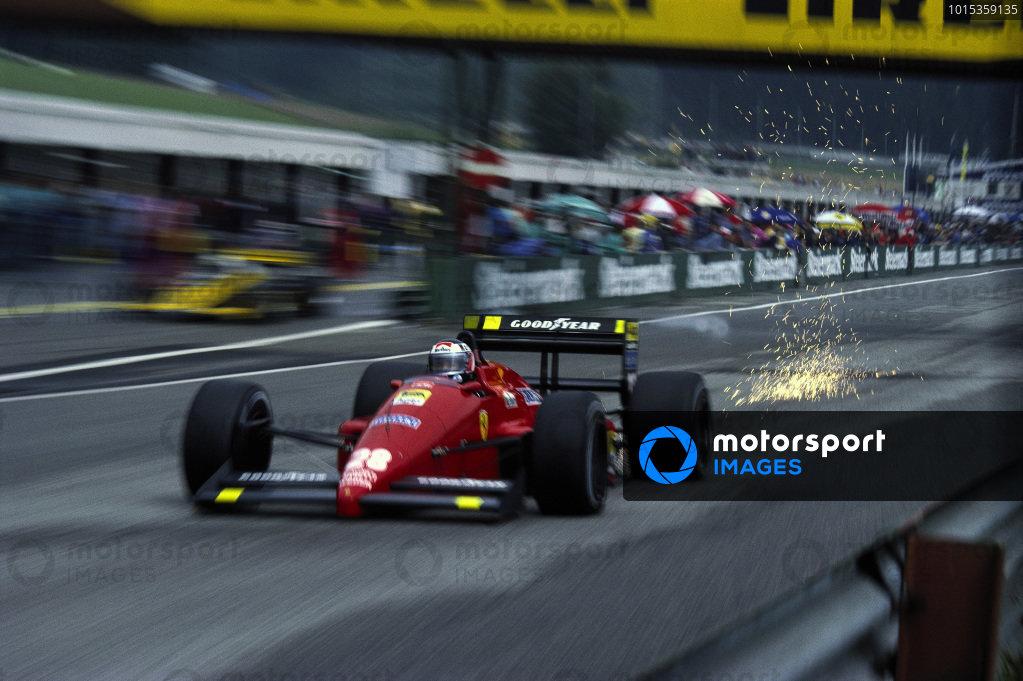 Gerhard Berger, Ferrari F1-87, with sparks flying.