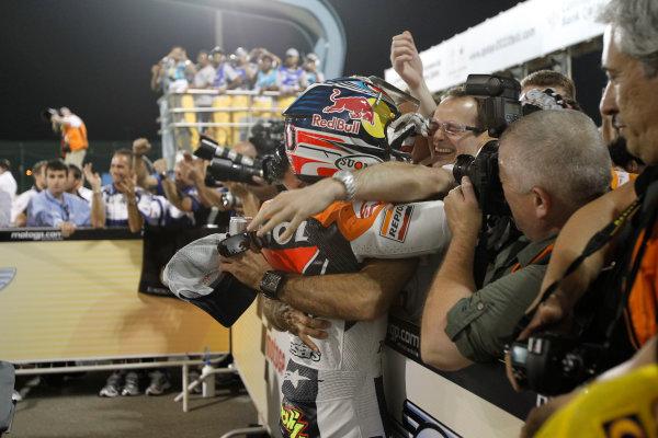 Losail International Circuit, Qatar.Round 1. 9th - 11th April 2010.Andrea Dovizioso Repsol Honda Team is congratulated on his surprise podium.World Copyright: Martin Heath/LAT Photographicref: Digital Image _J1C9684