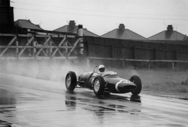 Aintree, Great Britain. 13th - 15th July 1961.Stirling Moss (Lotus 18/21-Climax), retired, action.World Copyright: LAT Photographic.Ref: 720 - 29.
