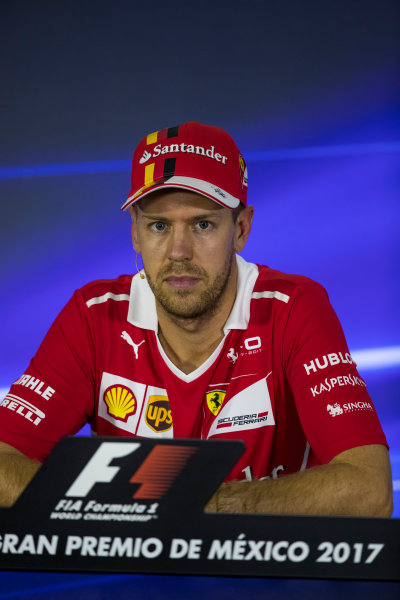 Autodromo Hermanos Rodriguez, Mexico City, Mexico. Saturday 28 October 2017. Pole man Sebastian Vettel, Ferrari, in the post qualifying Press Conference. World Copyright: Sam Bloxham/LAT Images  ref: Digital Image _W6I0507