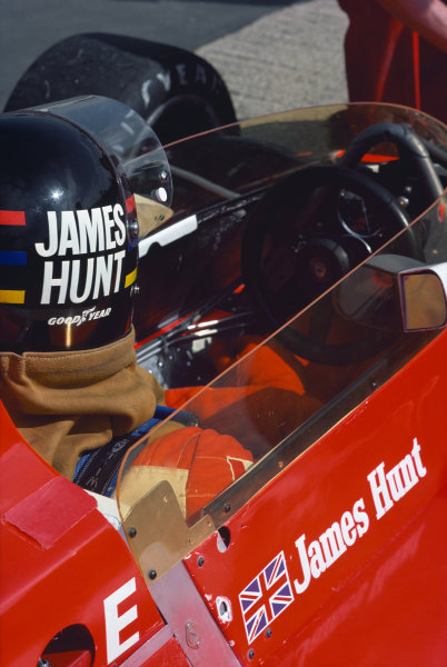 Jarama, Spain. 2nd May 1976.  James Hunt (McLaren M23-Ford), 1st position, in the pits, portrait.  World Copyright: LAT Photographic.  Ref:  76 ESP 35.
