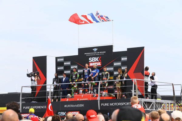 Podium: race winner Michael van der Mark, Pata Yamaha, second place Toprak Razgatlioglu, Kawasaki Puccetti Racing,  third place Jonathan Rea, Kawasaki Racing.