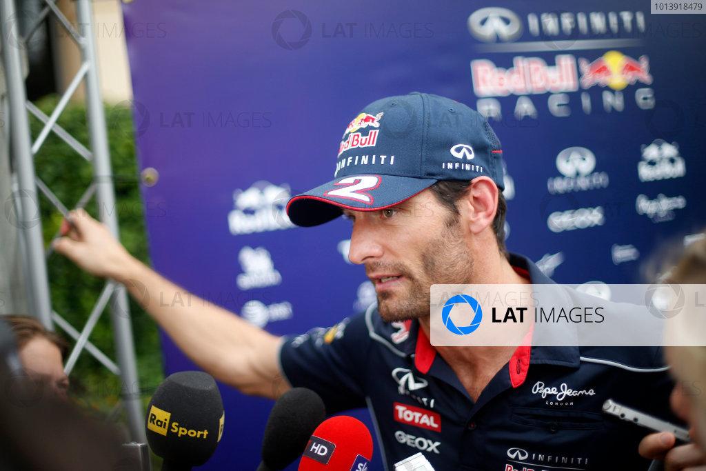 Bahrain International Circuit, Sakhir, Bahrain Thursday 18th April 2013 Mark Webber, Red Bull Racing.  World Copyright: Glenn Dunbar/LAT Photographic ref: Digital Image _89P9788