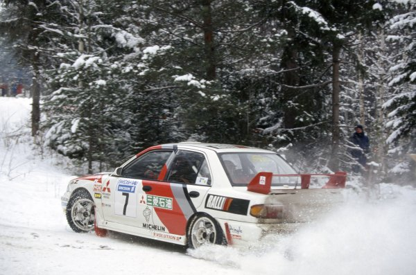1996 World Rally Championship.Swedish Rally, Sweden. 9-11 February 1996.Tommi Makinen/Seppo Harjanne (Mitsubishi Lancer Evo3), 1st position.World Copyright: LAT PhotographicRef: 35mm transparency 96RALLY01