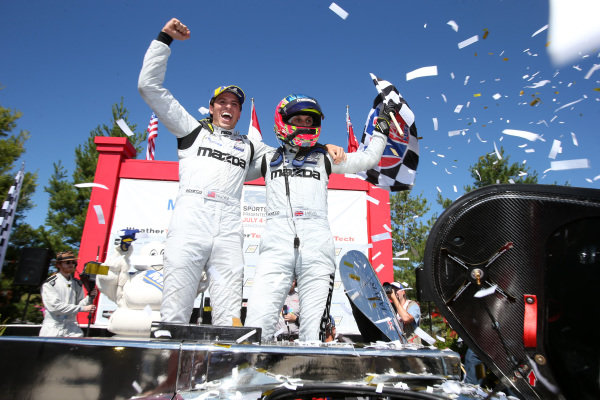 #77 Mazda Team Joest Mazda DPi, DPi: Oliver Jarvis, Tristan Nunez celebrate the win in victory lane