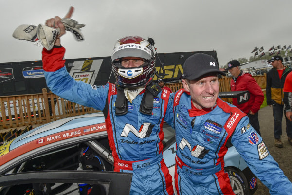 #98 Byan Herta Autosport W Curb-Agajanian Hyundai Veloster N TCR, TCR: Mark Wilkins, Michael Lewis celebrate the win in victory lane