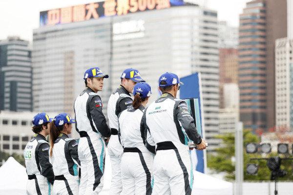 The PRO class podium (Katherine Legge (GBR), Rahal Letterman Lanigan Racing, 2nd position, winner Bryan Sellers (USA), Rahal Letterman Lanigan Racing and Sérgio Jimenez (BRA), Jaguar Brazil Racing, 3rd position) celebrates with the PRO AM class (winner Yaqi Zhang (CHI), Team China, Bandar Alesayi (SAU), Saudi Racing, 2nd position, and Célia Martin (FRE), Viessman Jaguar eTROPHY Team Germany, 3rd position)